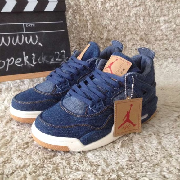 2495eb6fdbbf9b Authentic Levi s x Air Jordan 4s GS Denim Blue